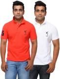 Yross Solid Men's Polo Neck Orange T-Shi...