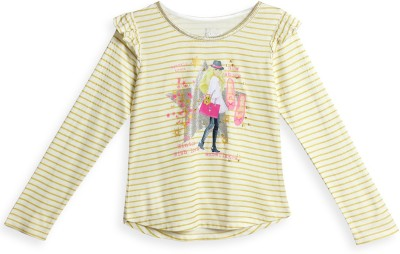 Barbie Striped Girl's Round Neck White, Gold T-Shirt