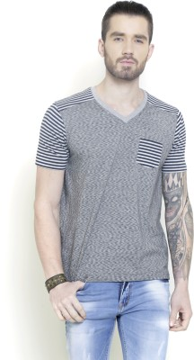 Metal Gear Striped Men's Polo Neck Grey T-Shirt
