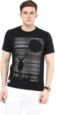 Ziera Printed Men's Round Neck Black T-Shirt