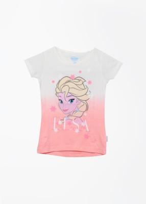 Frozen Printed Girl's Round Neck White, Pink T-shirt