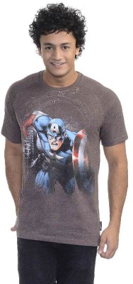 Captain America Printed Men's Round Neck T-Shirt