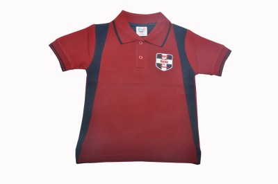 BG Casuals Solid Boy's Polo Neck Maroon T-Shirt