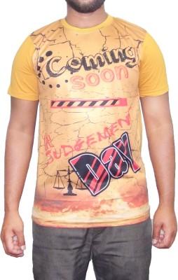 pious fashion club Printed Men,s, Boy's Round Neck Yellow T-Shirt