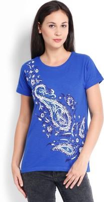 Tokyo Talkies Solid Women's Round Neck Dark Blue T-Shirt