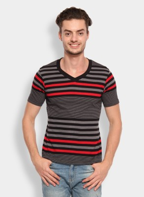Calix Striped Men's V-neck Grey, Red T-Shirt