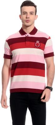 TAB91 Striped Men's Polo Neck Multicolor T-Shirt
