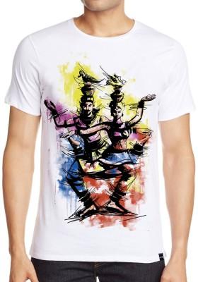 ANGI Graphic Print Men's Round Neck White T-Shirt