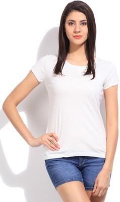 Cherokee Solid Women's Round Neck White T-Shirt