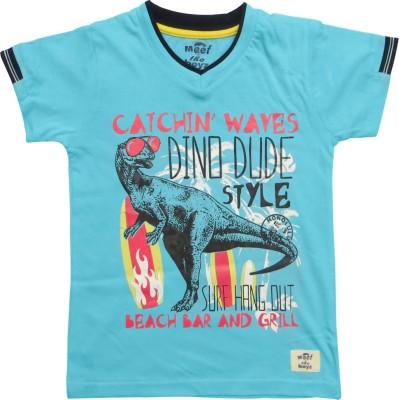 Kothari Printed Boy's V-neck Blue T-Shirt
