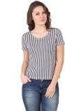 Flur Striped Women's Round Neck Black, W...