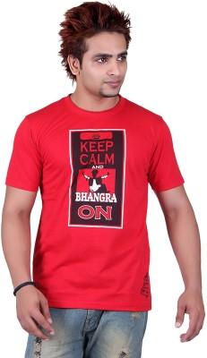 Punjabi Heritage Graphic Print Men,s Round Neck Red T-Shirt