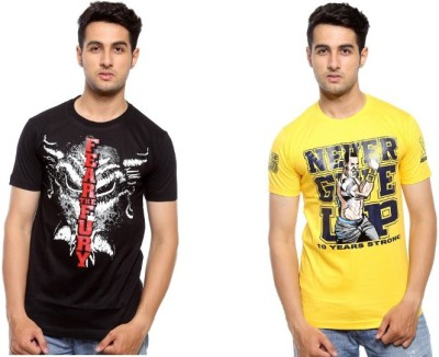 Trendmakerz Graphic Print Men's Round Neck Black, Yellow T-Shirt