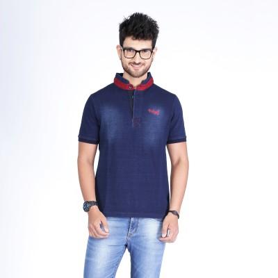 Nostrum Jeans Solid Men's Mandarin Collar Dark Blue, Red T-Shirt