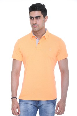 Colors and Blends Solid Men,s Polo Neck Orange T-Shirt