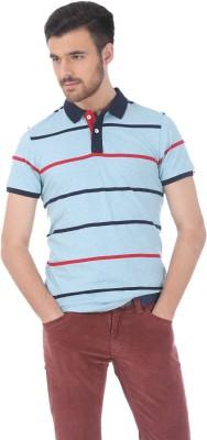 Basics Striped Men's Polo Neck Light Blue T-Shirt