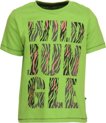 Bells and Whistles Printed Boy's Round Neck Green T-Shirt