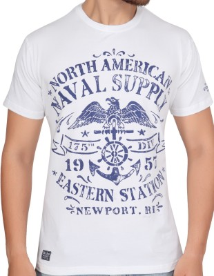 Stoke Graphic Print Men's Round Neck White T-Shirt