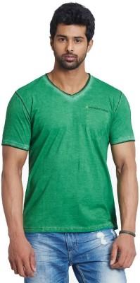 Fashnopolism Solid Men's V-neck Green T-Shirt
