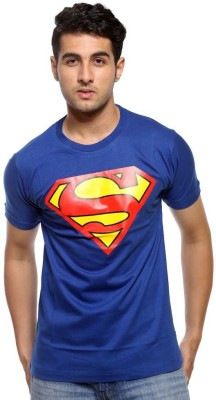Hefty Graphic Print Men's Round Neck Blue T-Shirt