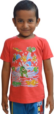 Just In Plus Graphic Print Boy's Round Neck Multicolor T-Shirt