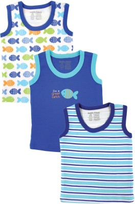 Luvable Friends Striped, Printed Baby Boy's Round Neck Blue T-Shirt