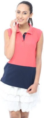 Unicolr Solid Women's Polo Neck Blue, Pink T-Shirt