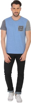 Being Human Clothing Solid Men's Round Neck Blue T-Shirt