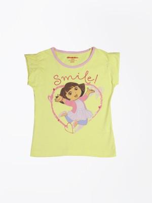 Dora Printed Girl's Round Neck Yellow T-Shirt