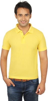 Quetzal Solid Men's Polo Neck Yellow T-Shirt