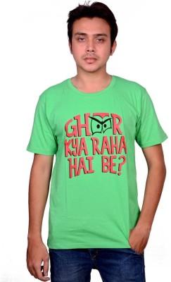 Swadesistuff Printed Men's Round Neck Green, Red, Black T-Shirt