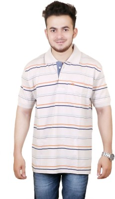 Zrestha Striped Men's Polo Neck White T-Shirt