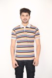 Planet 69 Striped Men's Polo Neck Multic...