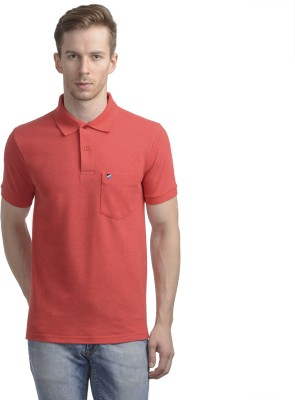 WRIG Solid Men's Polo Neck Red T-Shirt
