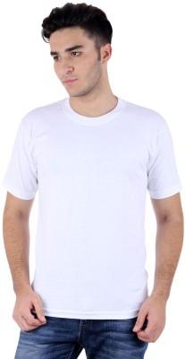 Subu Solid Men's Round Neck White T-Shirt