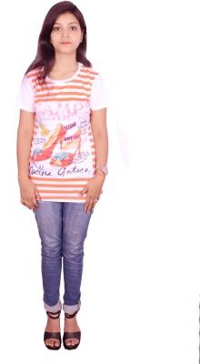 Himgiri Printed Women's Round Neck Multicolor T-Shirt