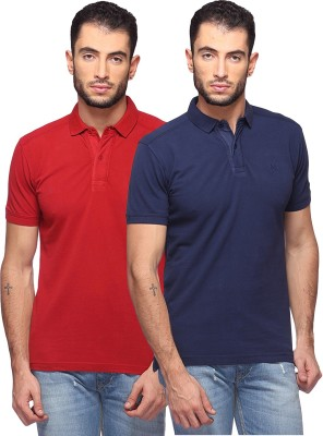 GOAT Solid Men's Polo Neck Maroon, Dark Blue T-Shirt