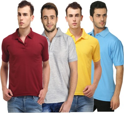 Lime Solid Men's Polo Neck Maroon, Grey, Yellow, Light Blue T-Shirt