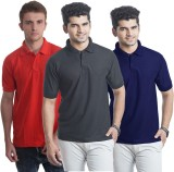 Bainsons Solid Men's Polo Red, Black, Bl...