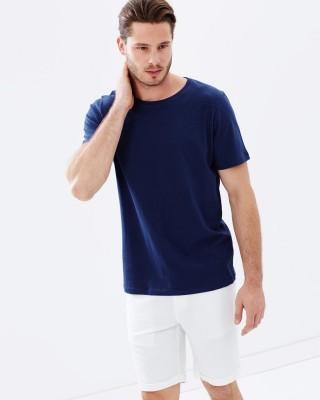 Thedstore Solid Men's Round Neck Dark Blue T-Shirt