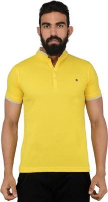 Gotit Solid Men's Fashion Neck Yellow T-Shirt