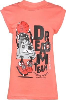 Meril Printed Boy's Round Neck Orange T-Shirt