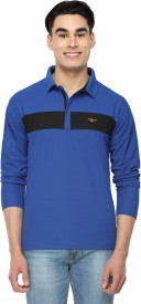 Stellers Solid Men's Polo Neck Blue T-Shirt