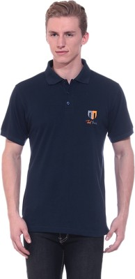 Ted Smith Solid Men's Polo Neck Dark Blue T-Shirt
