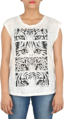 Download Apparel Printed Women,s Round Neck White T-Shirt