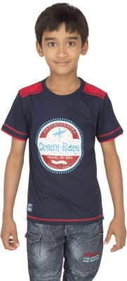 Ocean Race Printed Boy's Round Neck Blue, Red T-Shirt