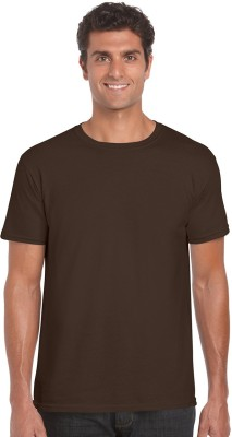 NUVA Solid Men's Round Neck Brown T-Shirt