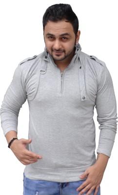 Black Collection Solid Men's Flap Collar Neck T-Shirt