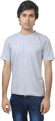 Louis Mode Solid Men's Round Neck Grey T-Shirt
