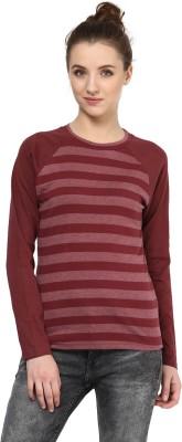 Hypernation Striped Women's Round Neck Maroon T-Shirt
